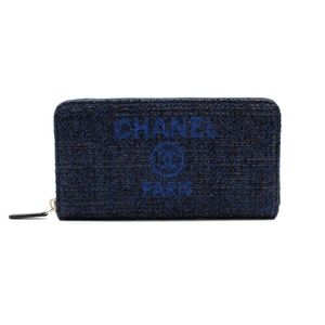 Chanel Medium Navy Blue Tweet Canvas Zip Wallet